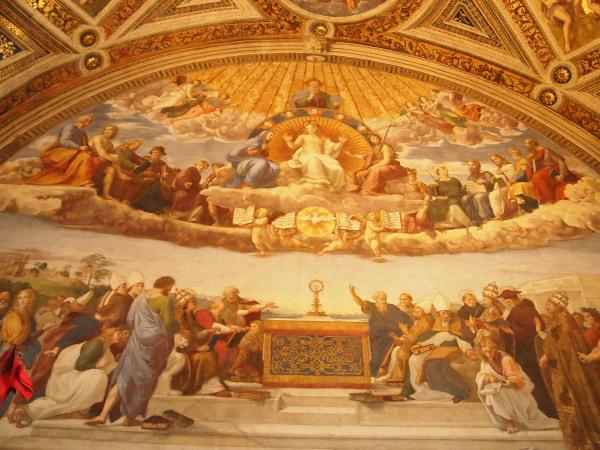 09バチカン美術館署名の間ラファエロ「聖体の論議」