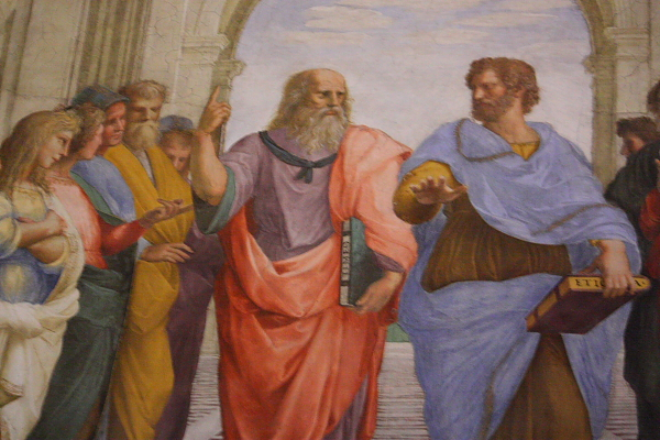 12「アテナイの学堂」プラトンとアリストテレス