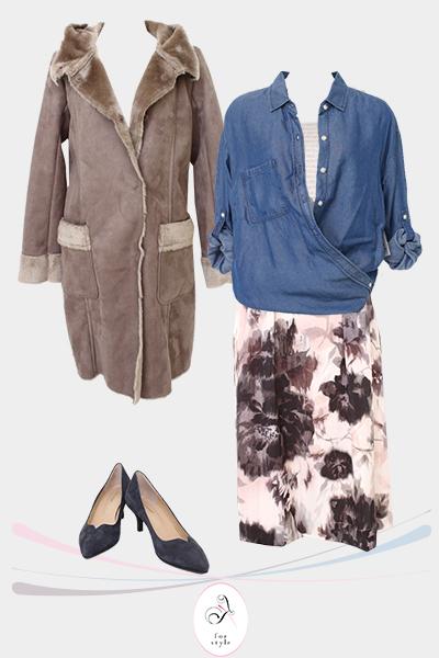 40代女性のコーディネート・花柄スカートを大人っぽく着回すコツ【お客様実例】
